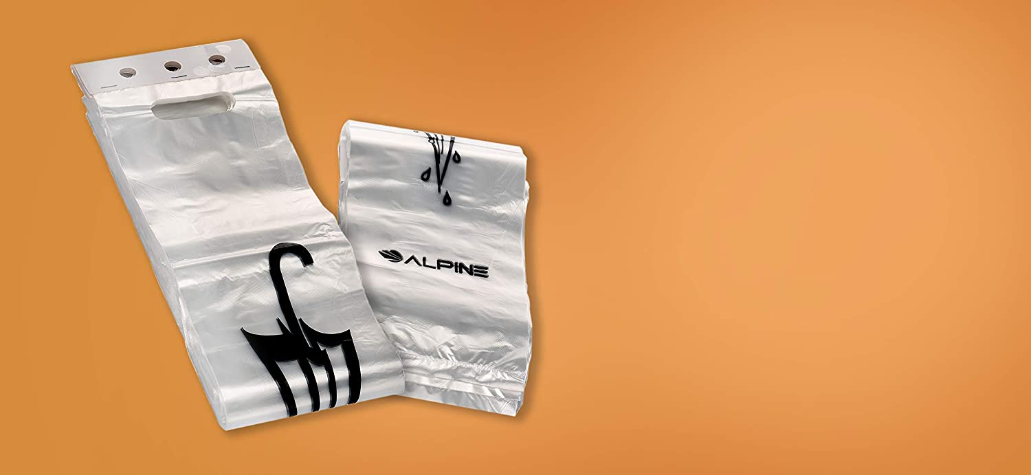 Disposable Universal Fit Packet Reduce Rainy Day Cleanup Prevent Accidents and Slips Ideal for Commercial Use Plastic Protective Container 1000 Pack Alpine Industries Wet Umbrella Bags