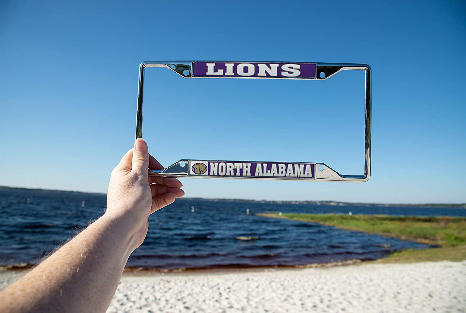 Desert Cactus University of North Alabama UNA Lions NCAA Metal License Plate Frame for Front Back of Car Officially Licensed Mascot