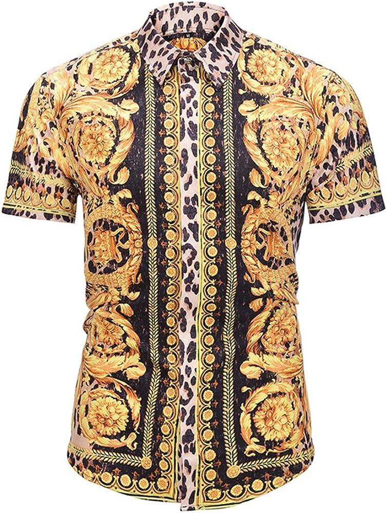 Rcdxing Camisa de manga corta de leopardo dorado para hombre de verano XXL para Hombres Ropa: Amazon.es: Ropa y accesorios
