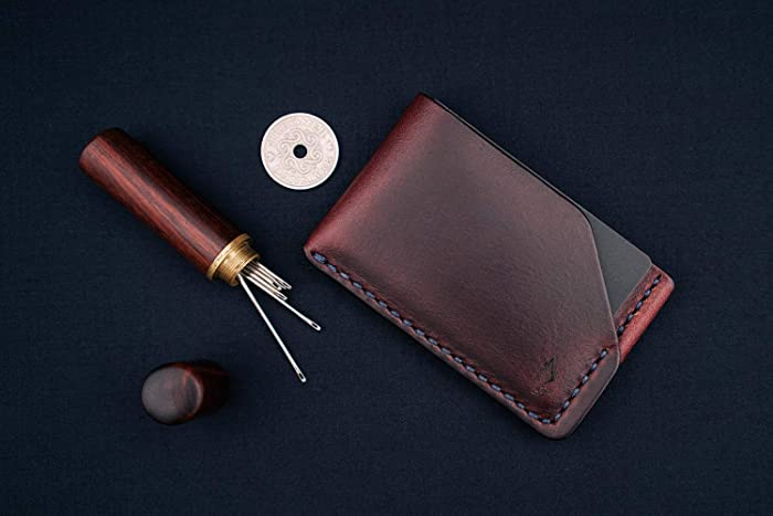 outlet store 43caa 6af23 Amazon.com: Horween leather card holder wallet in Burgundy ...