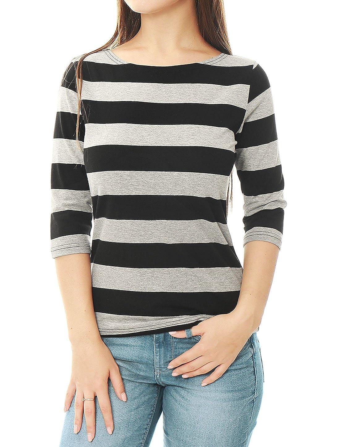 Allegra K Women's Elbow Sleeves Boat Neck Slim Fit Striped Tee s18040800it0243
