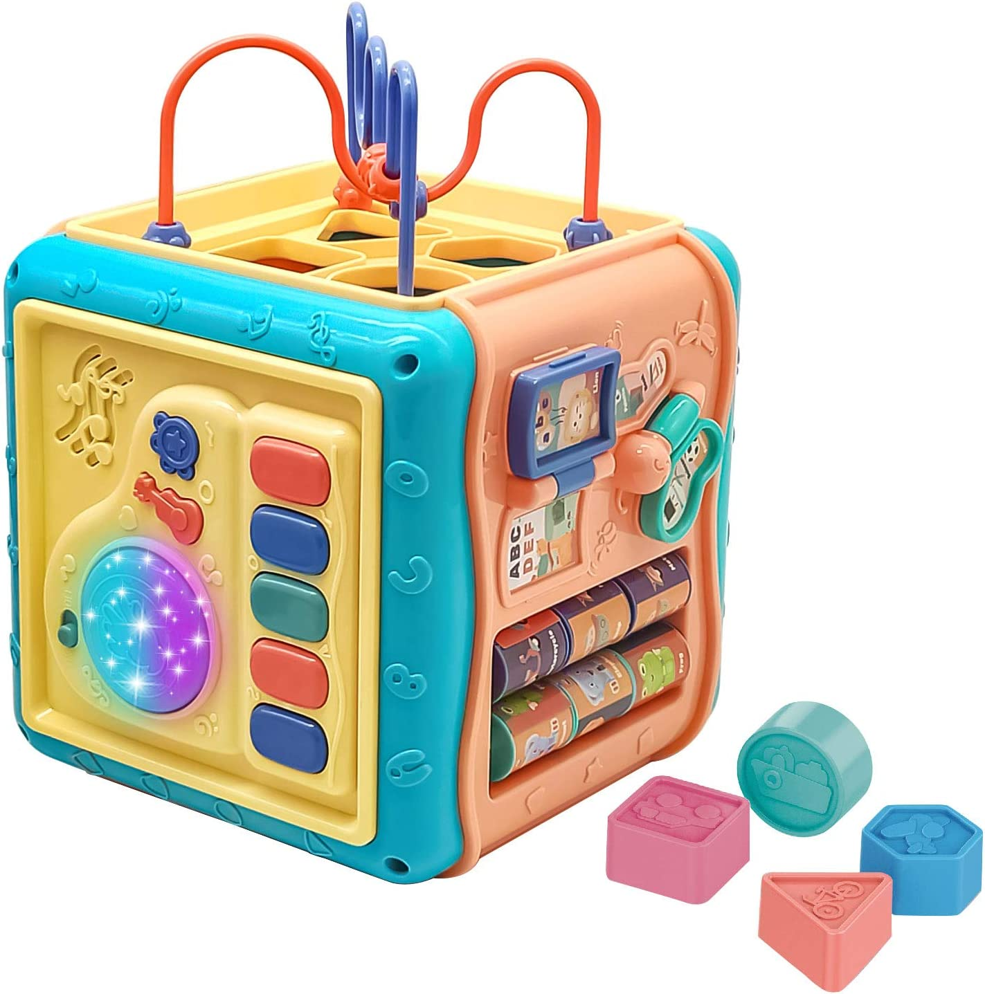 Baby Toys,Activity Cube,Baby Activity Cube Toddler Toys with Music - 6 in 1 Shape Sorter Toys Baby Activity Play Centers for Kids Infants,Developmental Toddler Educational Learning Toys Gift
