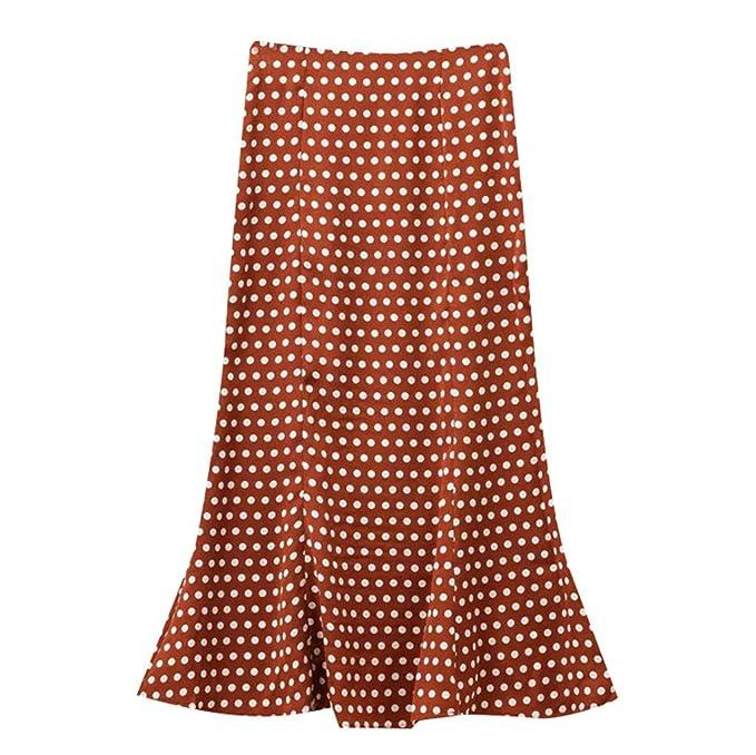 2edf7e43e1 ACEBABY Falda elástica de Mujer de Talle Alto con Lunares de Cola de Pescado  Estampado de