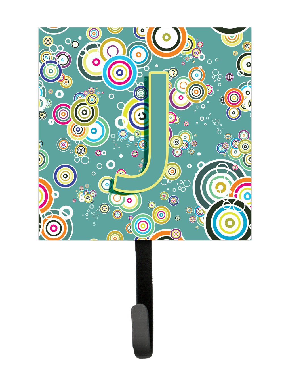 Small Carolines Treasures CJ2015-JSH4 Letter J Circle Teal Initial Alphabet Leash or Key Holder Multicolor