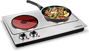 Cusimax Hot Plate Portable Electric Stove Countertop Single Burner with Adjustable Temperature Control & Non-Slip Rubber Feet, 7.4 Inch Cooktop for Dorm Office Home Camp, Compatible for All Cookwares (Infrared, Double Stove)