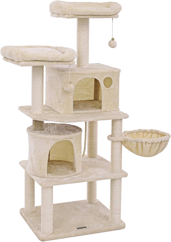 FEANDREA Árbol para Gatos, Rascador para Gatos con Postes Recubiertos de Sisal, Varias Plataformas, Centro de Actividades para Gatos Beige PCT90M