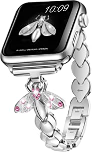 Sangaimei Strap Compatible Apple Watch Band 42mm 44mm Women Iwatch Band Dressy Stainless Steel Wristband for Apple Watch Series 6/5/SE/4/3/2/1 Silver