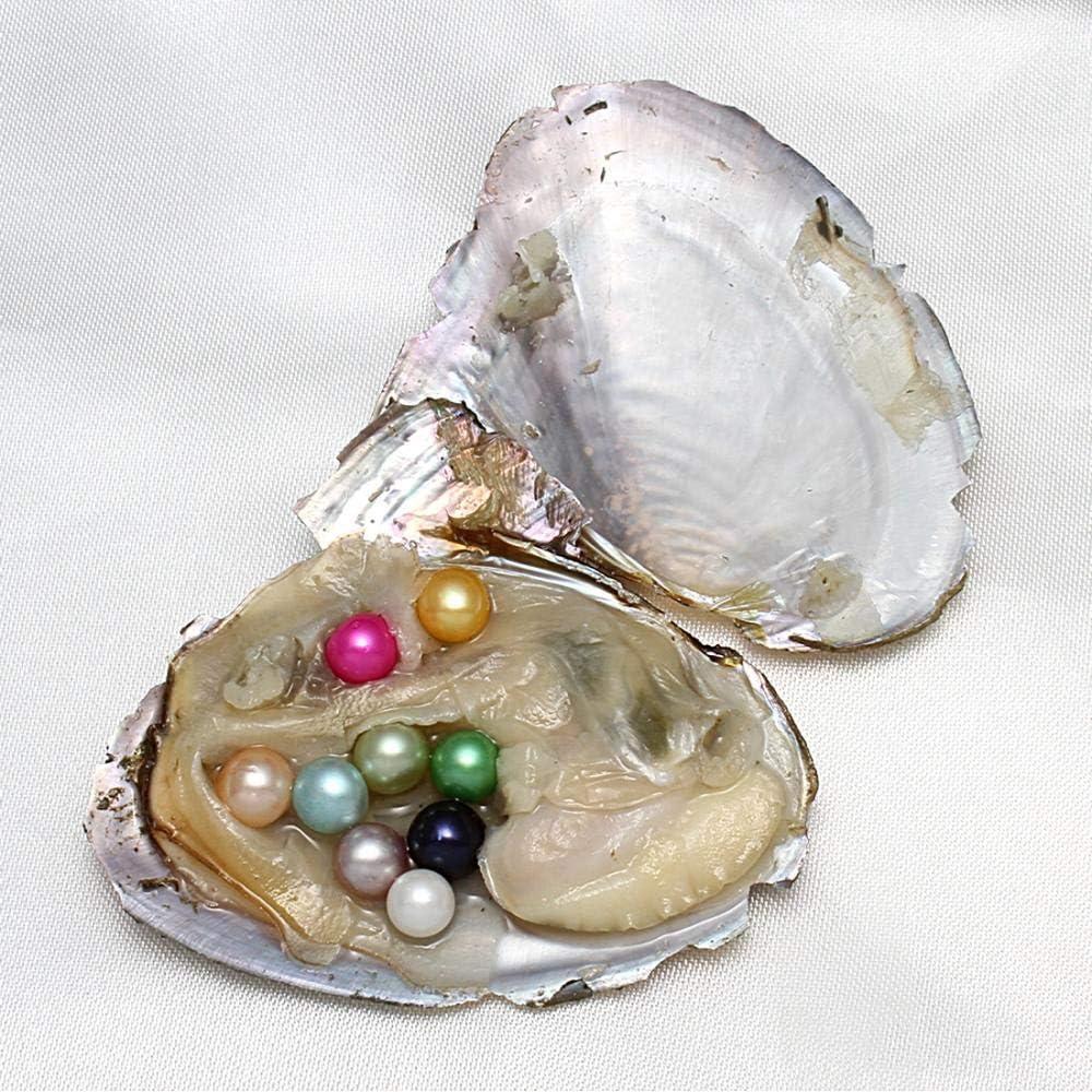 7-8 mm Ostriche di perle dacqua dolce coltivate con perle interne coltivate in ostriche dacqua dolce perle rotonde regalo per donne