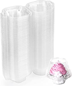 Hedume 100 Pack Individual Cupcake Container, BPA-Free Clear Plastic Single Deep Dome Stackable Individual Cupcake Box for Wedding, Party