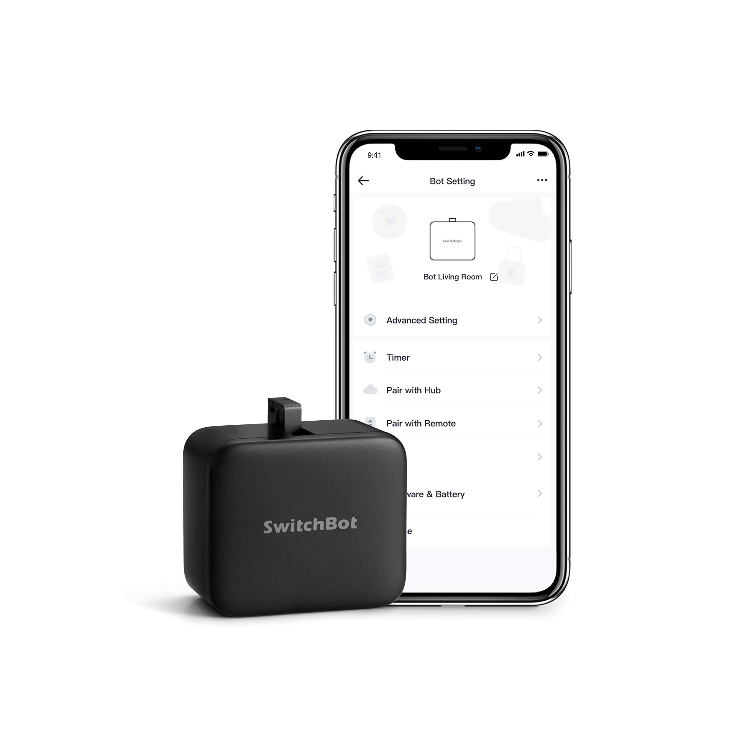 SwitchBot Smart Switch Button Pusher - No Wiring, Wireless App or Timer Control, Add SwitchBot Hub Compatible with Alexa, Google Home, HomePod and IFTTT