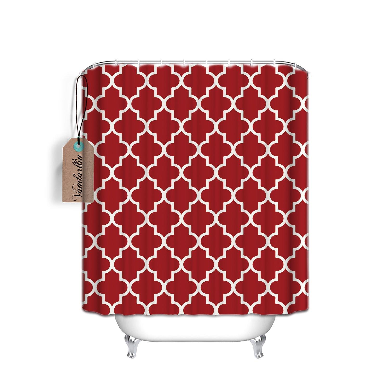 Vandarllin Custom Light Grey Quatrefoil Pattern Bathroom Shower Curtain Extra Long 72 x 78