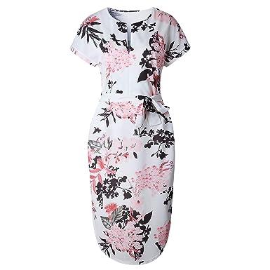 224271c33d2257 Damen Kurzarm Kleid V Ausschnitt Beiläufiges Strandkleid Sommerkleid aus  Bedruckter Weiß Bedruckt S