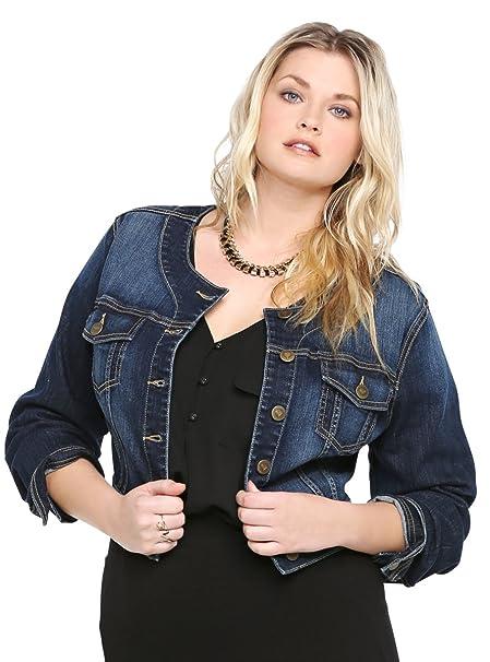 a0af83b7e86 Torrid White Label Cropped Denim Jacket - Dark Wash  Amazon.ca  Clothing    Accessories