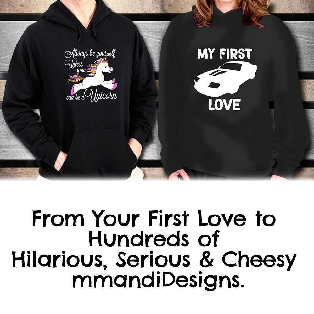 Black mmandiDESIGNS Thunderbird My First Love Personal Luxury Car Hoodie