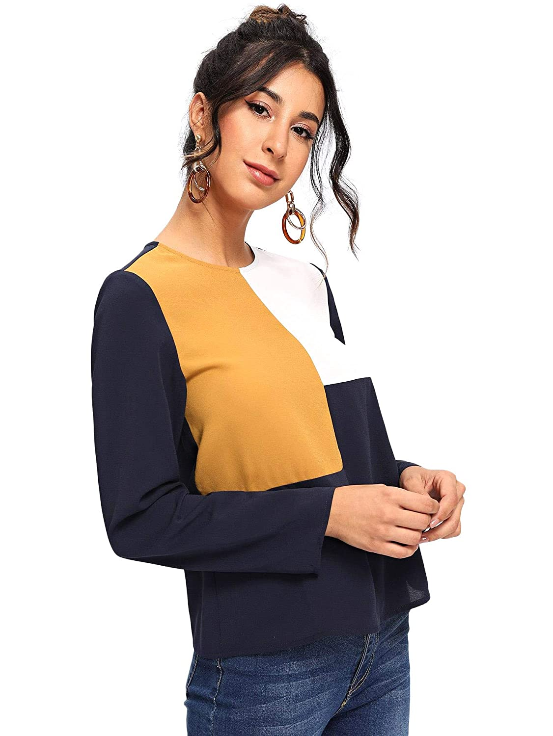 1c126ef238498f Milumia Women's Color Block Round Neck T-Shirt Long Sleeve Pullover Blouse  Top at Amazon Women's Clothing store: