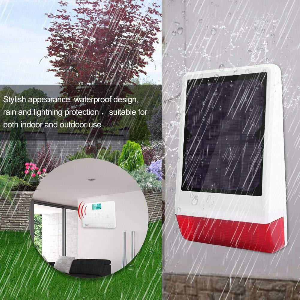 Kit de sistema de alarma de seguridad Sirena solar inal/ámbrica Sistema de alarma de seguridad antirrobo 6Sistema magn/ético de alarma 6PIR 1GSM de alarma 4Control remoto UE
