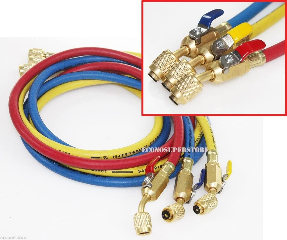 60 R410A Hoses with Ball Valves for R22 R410a R404a R134a refrigerant manifold gauge set 3 Color Hoses in Red Blue Yellow