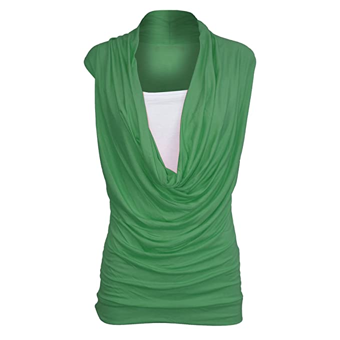 58ec1afb8dd35 Womens Ruched 2 In 1 Cowl Neck Ladies Sleeveless Jersey Vest T Shirt Tank  Top