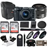 Canon EOS M6 Mirrorless Camera w/ EF-M 15-45mm lens (Black) + 64GB, Filter kit , Remote Control, Case & Loads More Accessories