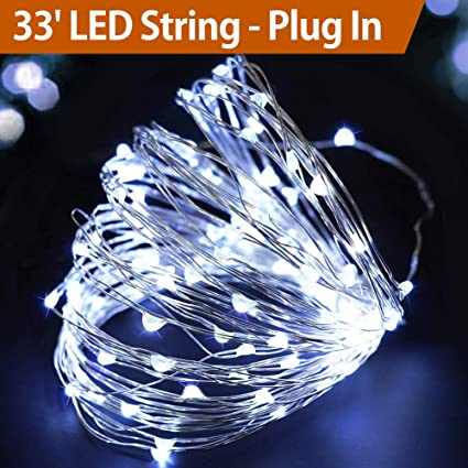 bright zeal 33 very bright cool white fairy lights plug in cool white led