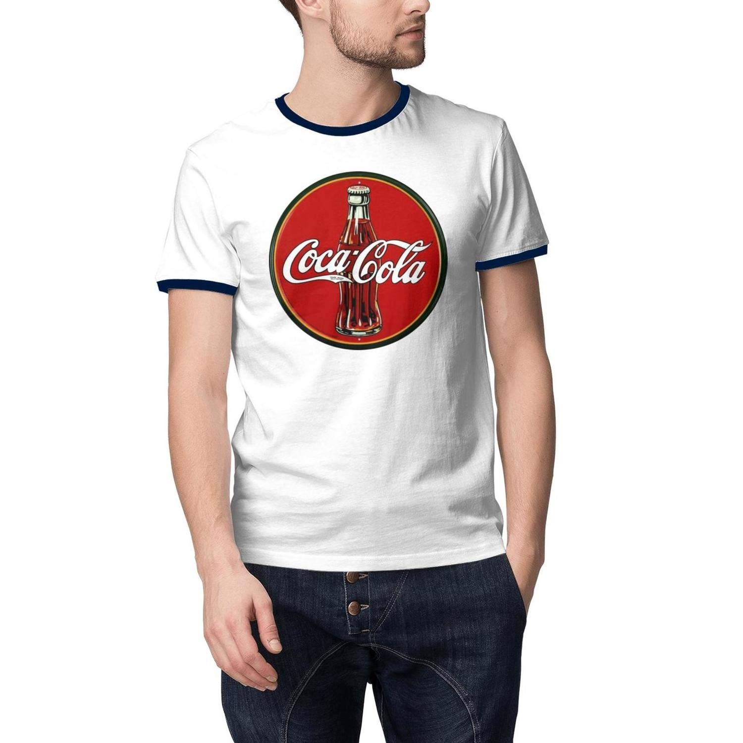 Men Coca Cola Soft Drink Diet Logo Short Sleeve T Shirts Large Humor Comfy T-Shirts