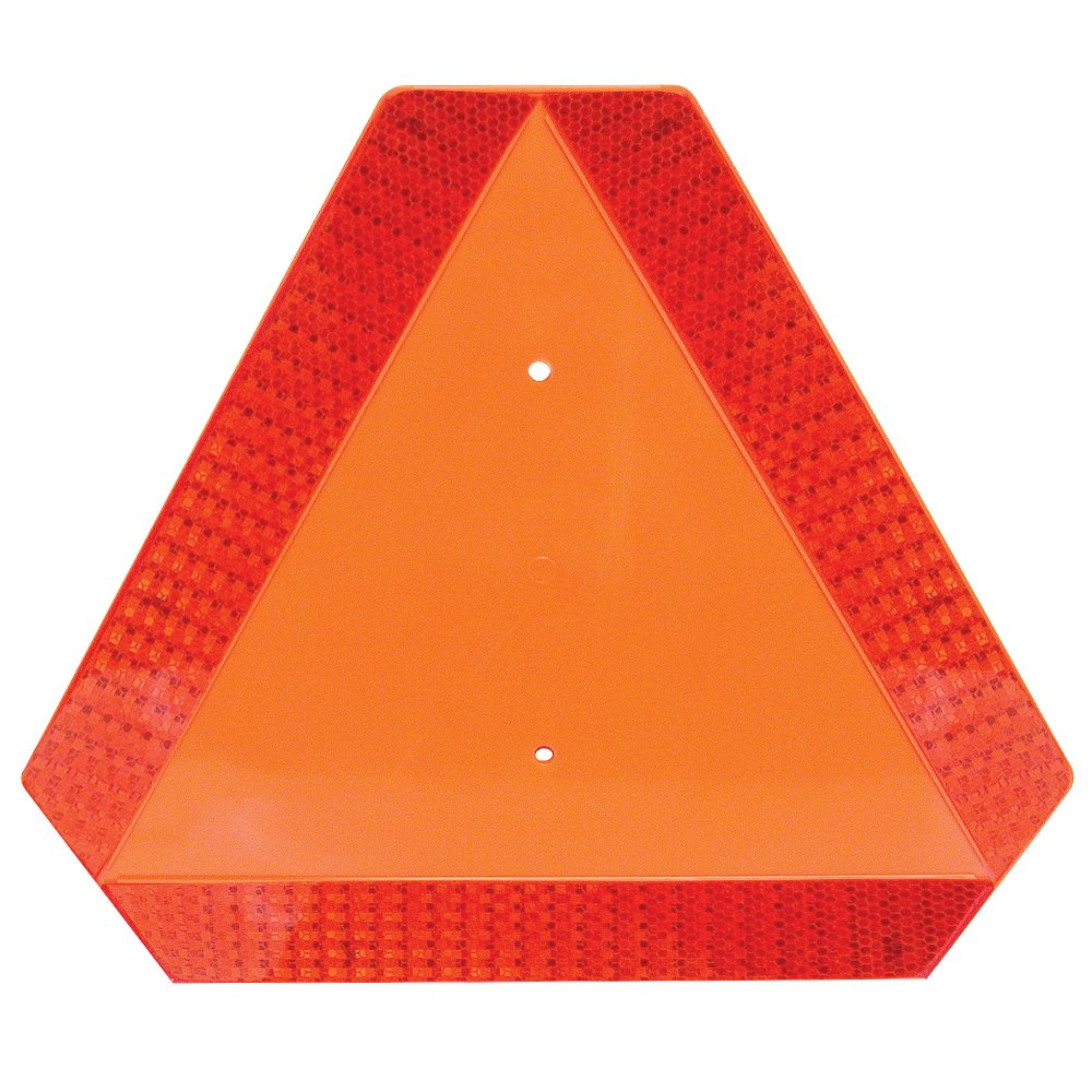 Deflecto Slow Moving Vehicle Sign with Reflective Tape, Safety Triangle, Orange, Highly Visible, Plastic, 16'' W x 14'' H  x 1/4'' D(70-0110-50) by Deflecto