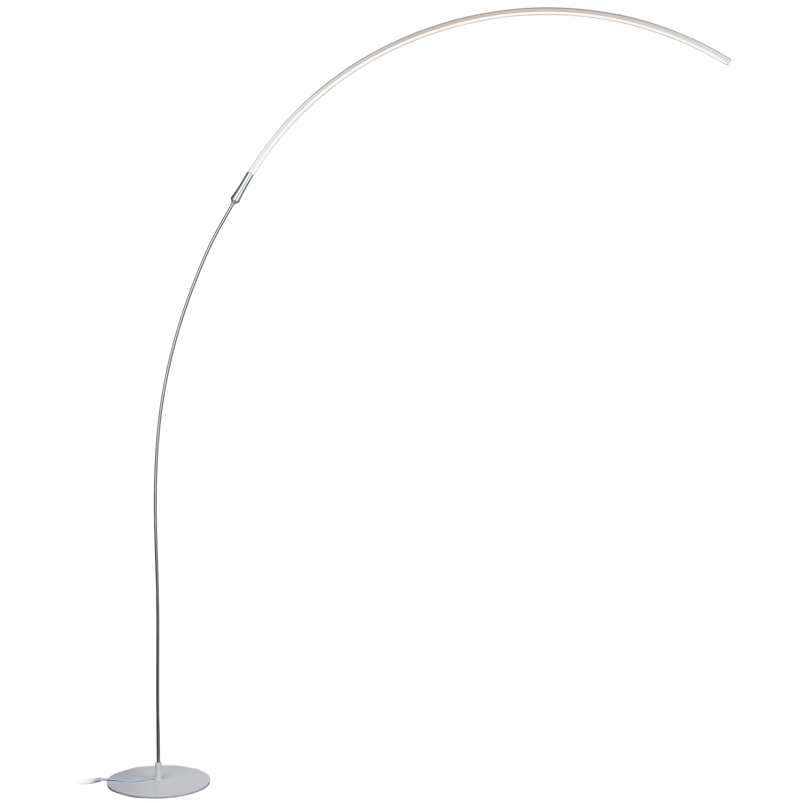 Brightech Sparq Arc LED Floor Lamp - Modern Over The Sofa Living Room Light - Warm White Arch Lighting for Bedrooms or Offices - Dimmable Minimalist Pole Downlight – Silver