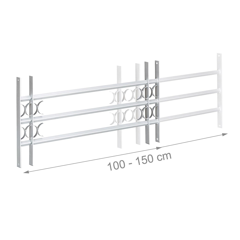 grau Verzinkt 450 x 1000-1500 mm Ausziehbar Stahl Aussen Sicherheitsgitter Relaxdays Fenstergitter Einbruchschutz