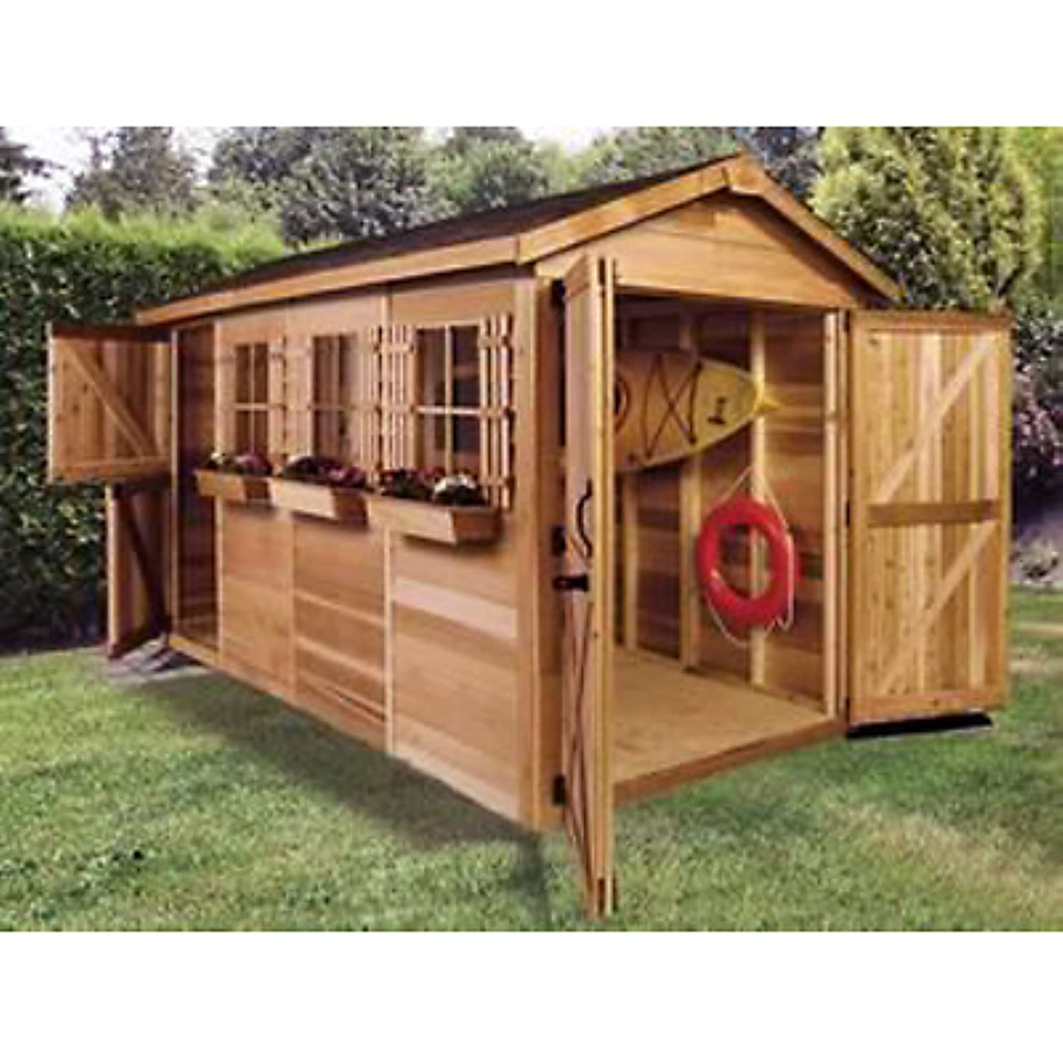 amazoncom cedar shed 12 x 6 ft boathouse garden shed home improvement