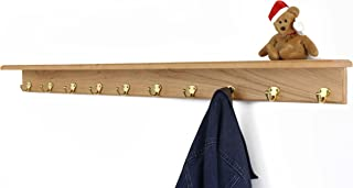 """product image for PegandRail Solid Cherry Shelf Coat Rack with Solid Brass Single Style Hooks (Natural, 53"""" with 10 Hooks)"""