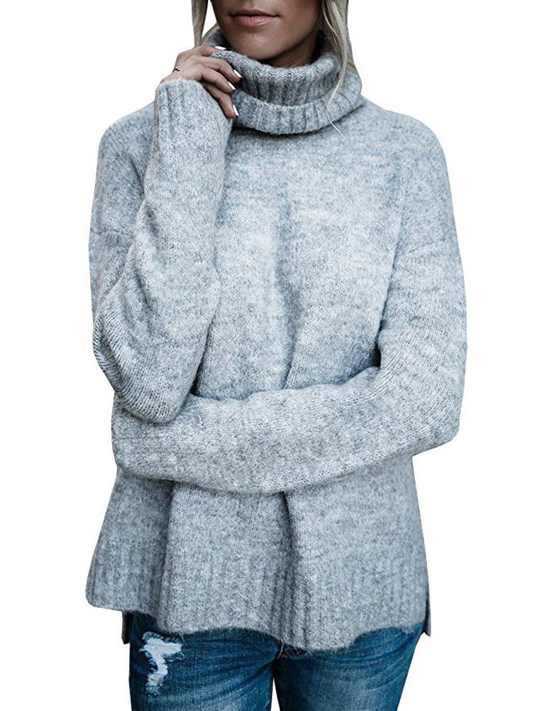 Donne Maglione Autunno Inverno Maglia Alta Colletto Collare Allentato Maglioni di Maglia Lungo Knit Pullover Tops JQ171129BY-DE01