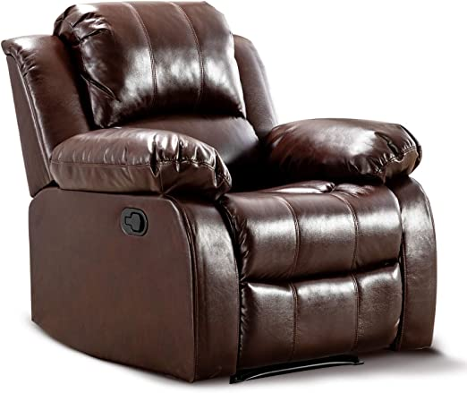 Bonzy Home Air Leather Recliner Chair Overstuffed Heavy Duty Recliner Faux Leather Home Theater Seating Manual Bedroom & Living Room Chair
