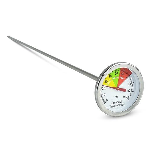 Termómetro para compostaje de acero inoxidable con dial de 50 mm