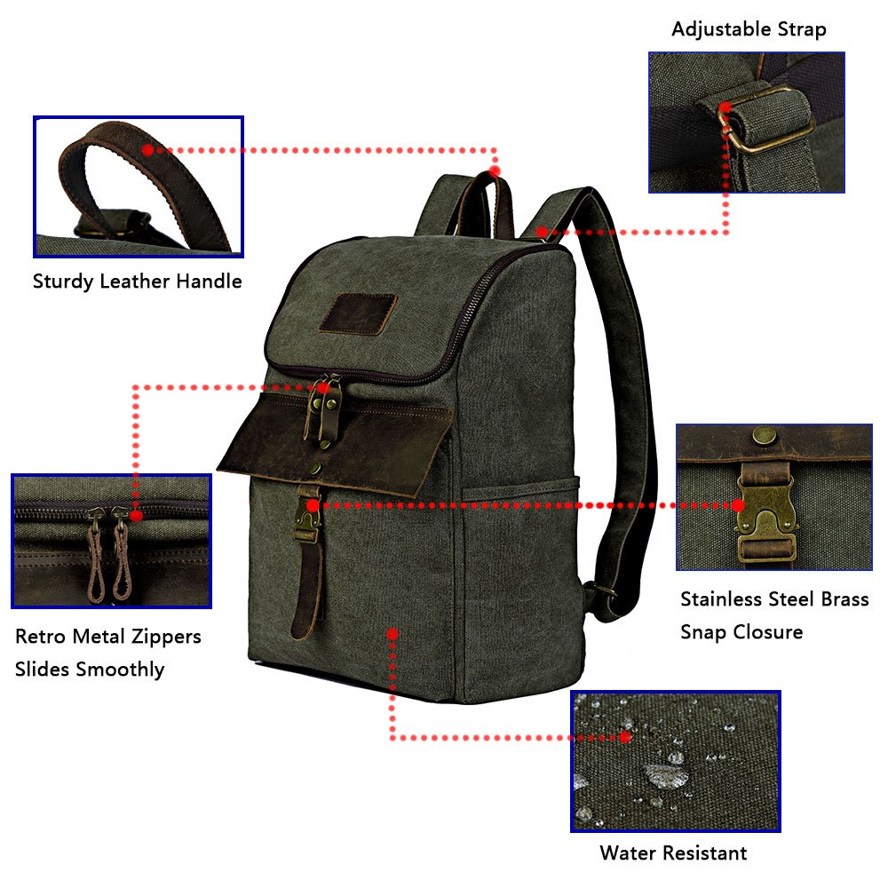 Outdoor Hiking Backpack, Men's Water Resistant Backpacks Specially High Density Thick Canvas Fabric Cotton Genuine Leather Rucksack Casual Bookbag by FRFUN (Image #7)