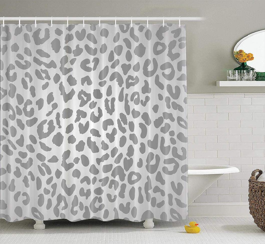 Ansote Grey Shower Curtain,Leopard Print Animal Gray Pattern Snow Cheetah Cute Waterproof Fabric Bathroom Shower Curtain Machine Washable Beautiful 72x78 Inch Polyester Bath Curtains Bathroom Decor