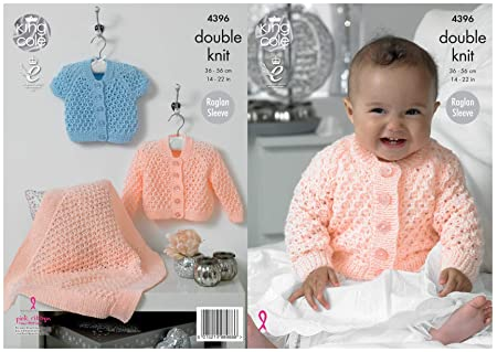 9e59b86d77d4 King Cole Double Knitting DK Pattern Baby Set Blanket Long and Short ...