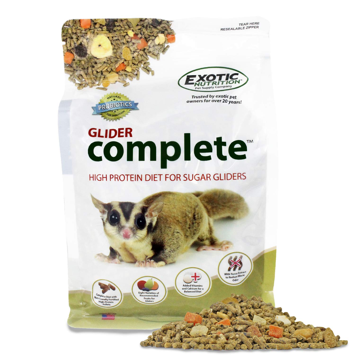 Glider Complete (10 lb.) - Healthy High Protein Nutritionally Complete Staple Diet Sugar Glider Food by Exotic Nutrition
