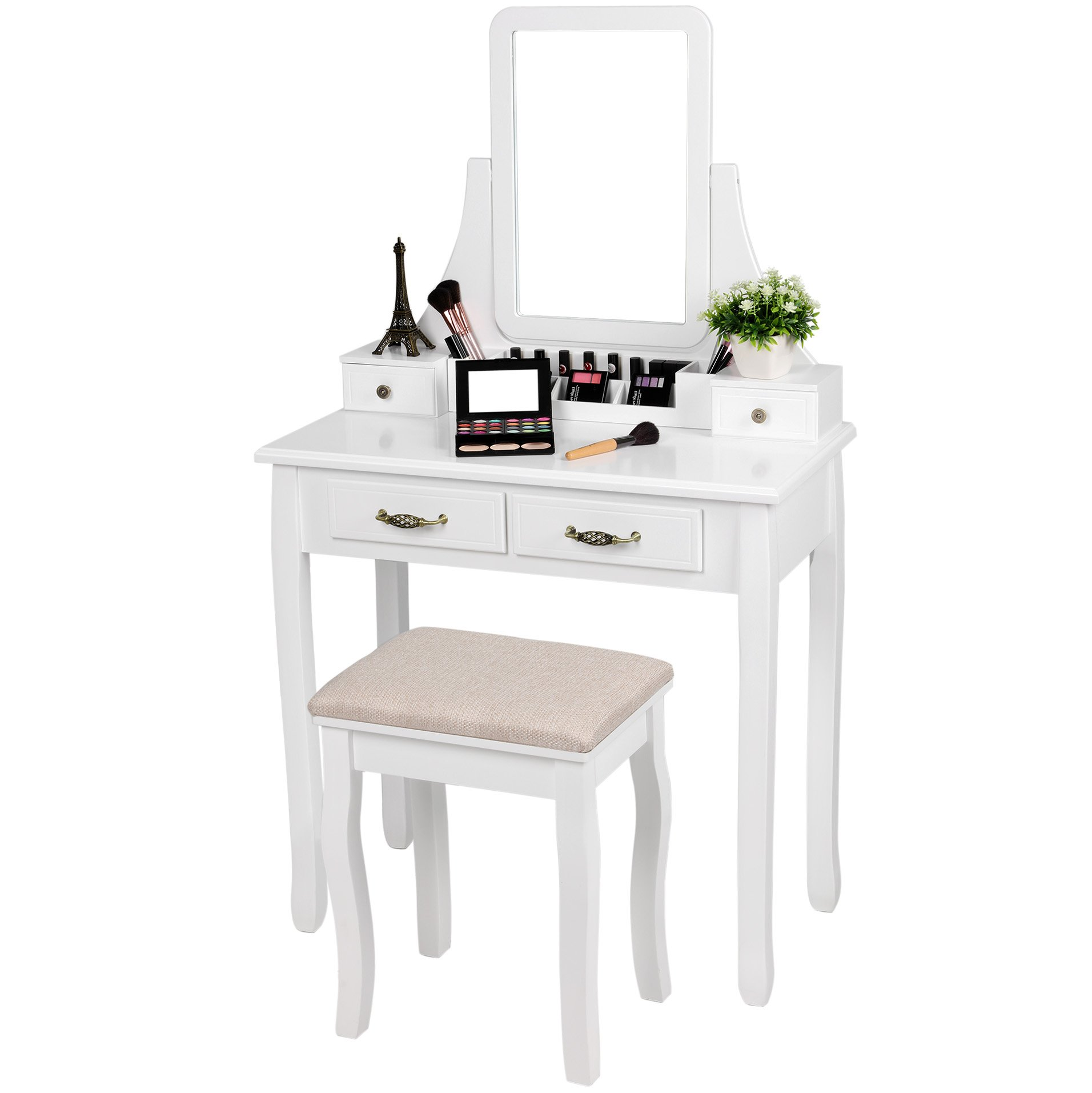 SONGMICS Vanity Set, 2 Large Sliding Drawers, Removable Makeup Organizer for Brushes Nail Polishes, Dressing Table with Mirror and Stool White URDT12W by SONGMICS