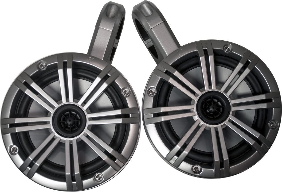 KICKER White Wake Tower System Charcoal 6.5 Marine Speakers Pair