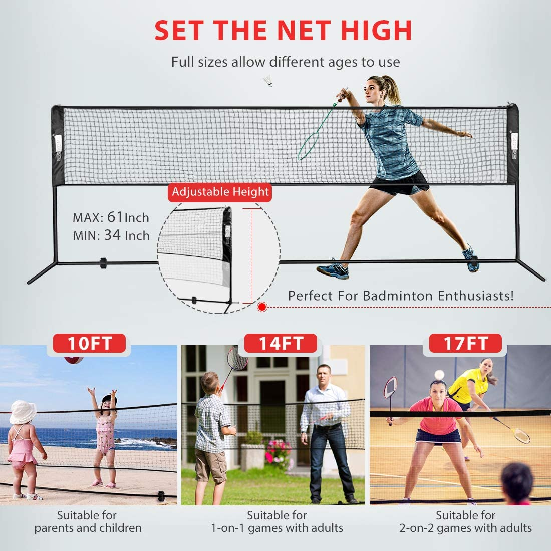 Badminton Set Carry Adjustable Height for Tennis Pickleball for Outdoor as Backyard Playground Park Ball Court Beach 240inches Long Net Volleyball Net Portable with Stainless Steel Tube Easy Setup