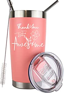 Thank You For Being Awesome Tumbler | Thank You Gifts For Coworkers | Best Gifts For Employees | Coworker Gifts For Women | Employee Appreciation Gifts | Teacher Appreciation Gifts | 20 Oz (Pink)