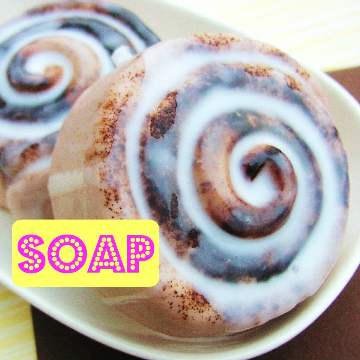 Life size Glazed Cinnamon Bun Soap. Gift Boxed Sweet Treat. Hostess Housewarming. For the Baker