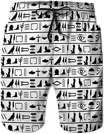 jiilwkie Bañador de Playa de Secado rápido para Hombre Shorts de Playa Antiguo Egipcio sin Costuras horizontales
