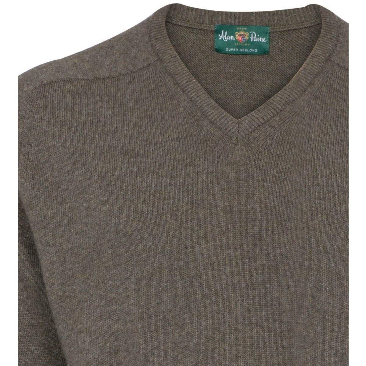 Alan Paine Stratford Geelong Wool V Neck Jumper Leather