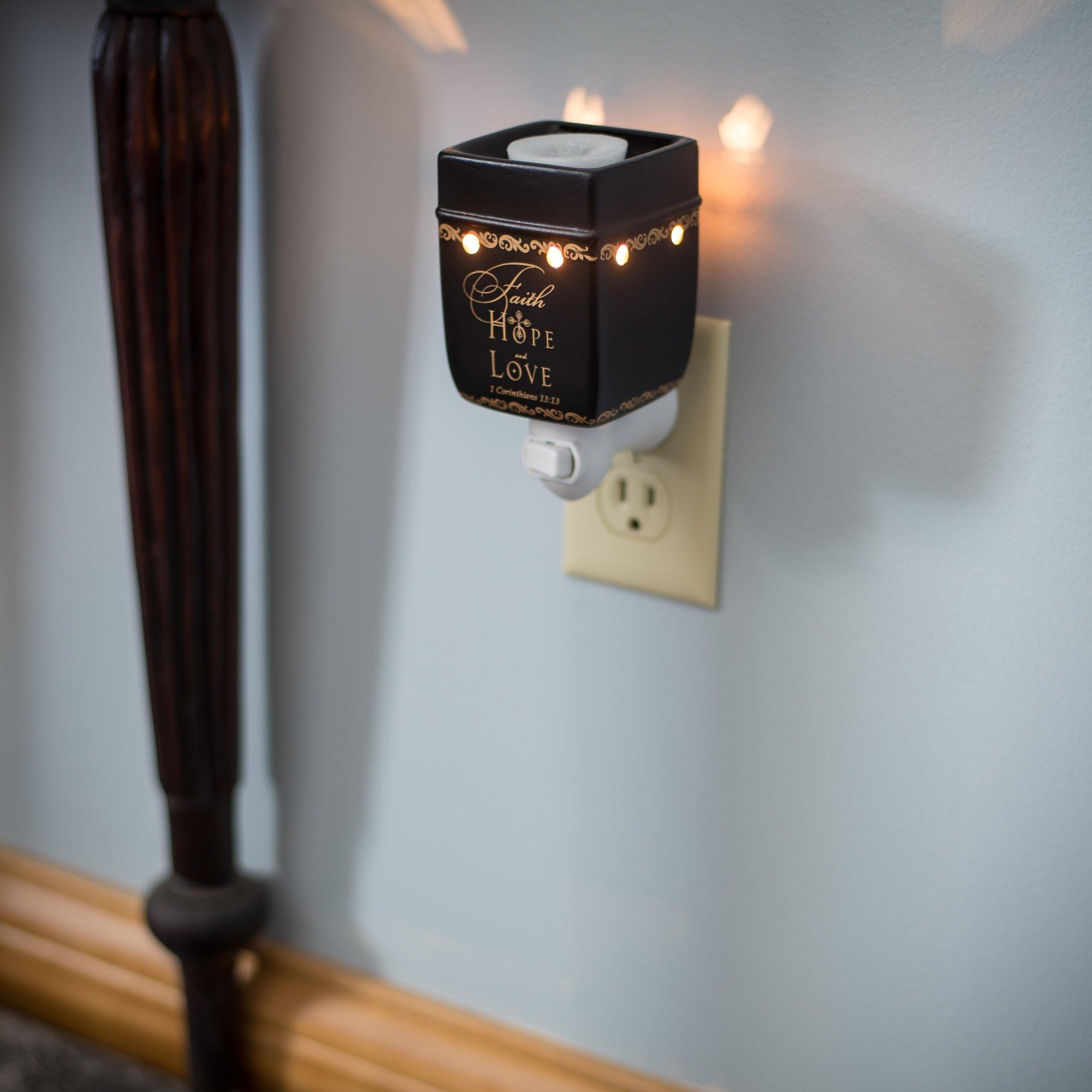 Elanze Designs Faith Hope Love 1 Corinthians 13:13 Ceramic Stoneware Plug-in Outlet Wax Oil Warmer by Elanze Designs (Image #4)