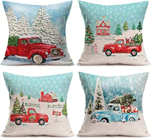 Aremazing 4 Pack Xmas Home Decor Pillowcase Red Blue Truck and Christmas Tree Gifts Driving on Winter Snowy Road Linen Throw Waist Pillow Case Cushion Cover 18x18 inches (4 Pack Xmas Truck)