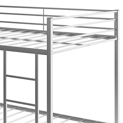 Buy Full Over Full Metal Bunk Bed Low Bunk Bed With Ladder For Kids Toddlers Teens No Box Spring Needed Silver Online In Indonesia B08tqfhcqq