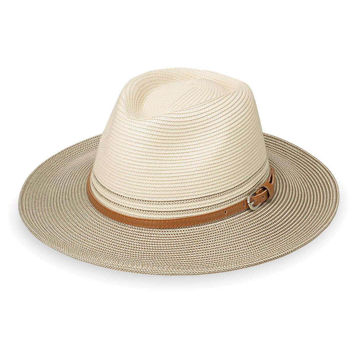 Wallaroo Hat Company Women's Kristy Fedora - UPF 50+, Lightweight, Adjustable, Packable, Designed in Australia, Two-Toned Ivory/Stone