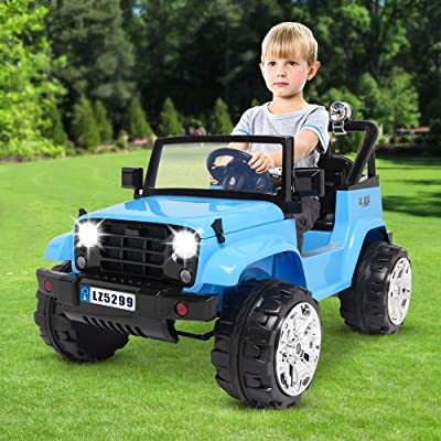 Kids Remote Control Electric Car, Small Jeep Dual Drive Battery Wheel Truck for Toddler Age 3-8, with 2.4G R/C Remote Control/Music Player/LED Lights (Blue): Beauty