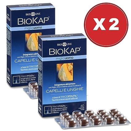 Tratamiento de mantenimiento BIOKAP Anticaída Hombre Color 1 BIOKAP 12 ampollas Anticaída + 1 Miglio Suplemento